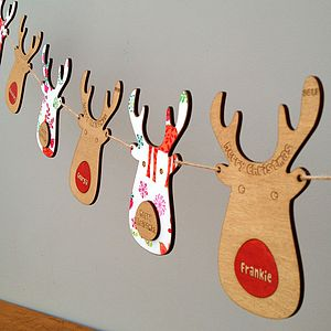 Personalised Reindeer Christmas Garland - bunting & garlands
