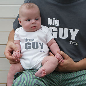 Personalised Big And Little Guy Bodysuit Set - babygrows