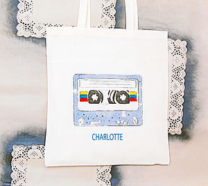 Personalised Cassette Tape Shopper Bag - gifts for teenagers