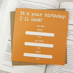 'It's Your Birthday. I'll Cook!' Card - general birthday cards