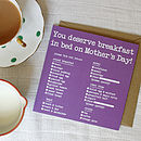 Breakfast In Bed Mothers Day Card