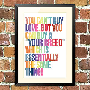 'Love' Pet Print, For Pet Lovers - art & pictures