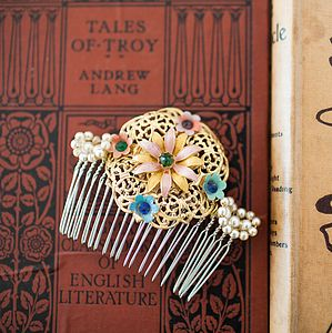 Filigree Flower Vintage Hair Comb - bridal hairpieces