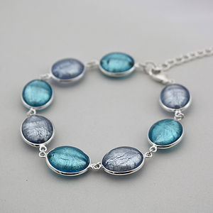 Silver Bracelet With Murano Glass Ovals - into the blue