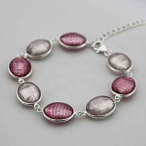 Silver Bracelet With Murano Glass Ovals