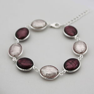 Silver Bracelet With Murano Glass Ovals - women's jewellery