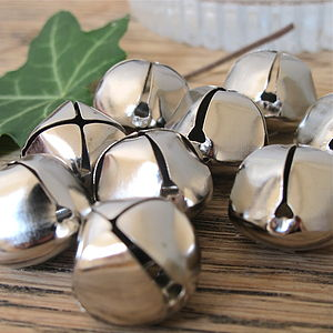 Pack Of Five Silver Christmas Bells 20mm - christmas parties & entertaining