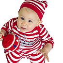 Crown Print Striped Long Sleeved Babygrow