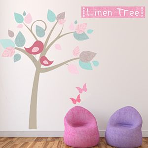 Linen Tree Fabric Wall Sticker - wall stickers