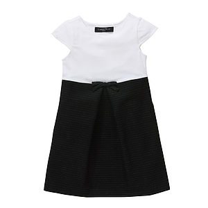 Was £20 Now £15 White And Stripe Skirt Bow Detail Dress