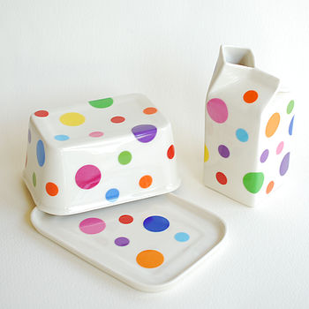 Mixed Polkadot Butter Dish