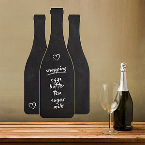 Wine Bottles Write And Erase Wall Sticker - kitchen accessories