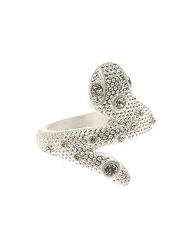 Snake Ring In Silver And Diamante