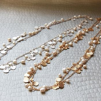 Midas Coin And White Pearl Necklace