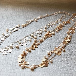 Midas Coin And White Pearl Necklace - anniversary gifts