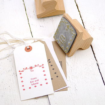 Personalised Christmas Star Rubber Stamp