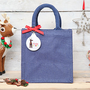 Personalised Reindeer Tag Jute Bag Christmas - ribbon & wrap