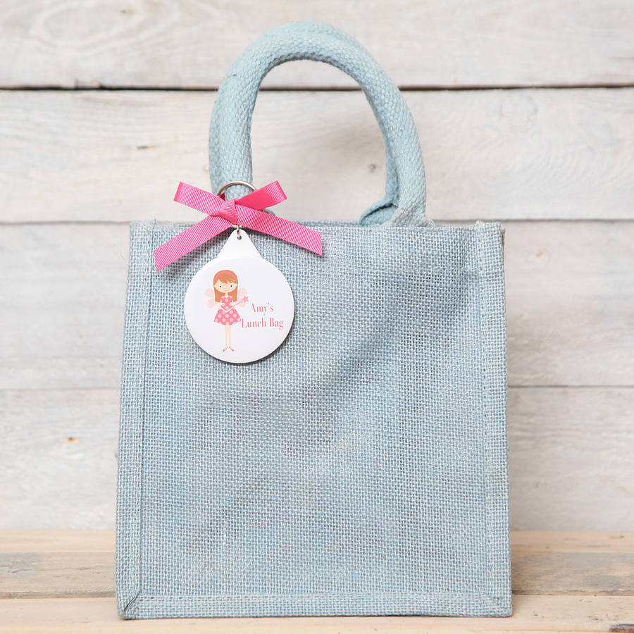 Personalised Fairy Key Ring Jute Gift Bag