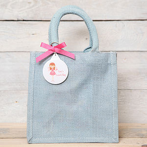 Personalised Fairy Key Ring Jute Gift Bag - bags