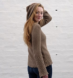 Alpaca Cable Knit Hooded Sweater - loungewear