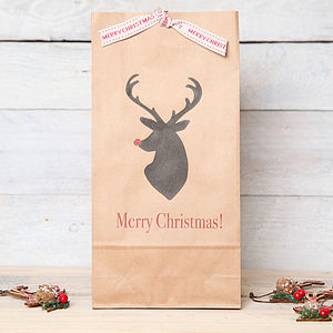 Christmas Personalised Stags Head Gift Bag - ribbon & wrap