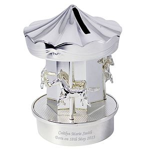 Personalised Silverplate Carousel Money Box - gifts for children
