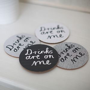 Set Of Four 'Drinks Are On Me' Coasters - stocking fillers under £15