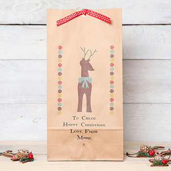 Christmas Personalised Reindeer Gift Bag