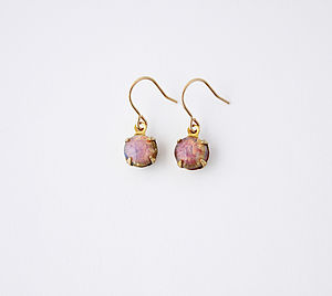 Fire Opal Glass Drop Earrings