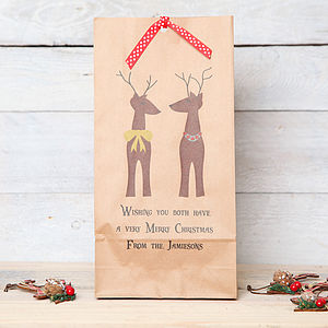 Christmas Personalised Two Reindeer Gift Bag