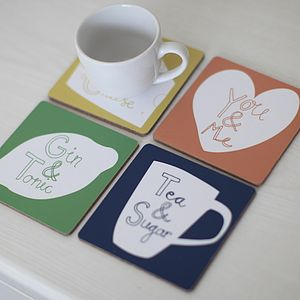 Set Of Four 'You&Me' Coasters
