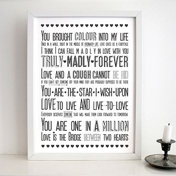 'Love Sayings' Print