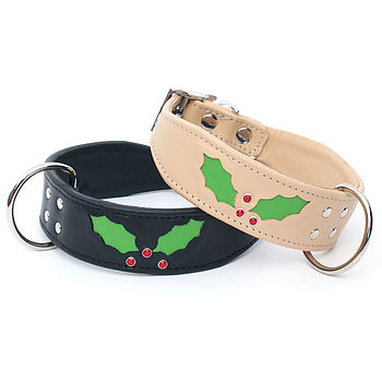 Handmade Christmas Holly Dog Collar