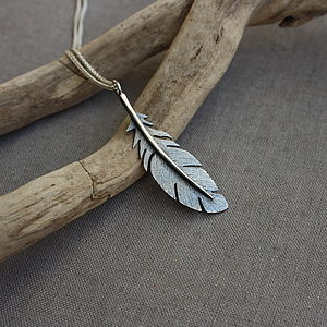 Handmade Silver Oxidised Feather Pendant - necklaces & pendants