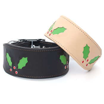 Handmade Christmas Holly Sighthound Collar