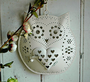 Hanging Owl Design Tea Light Candle Holder - christmas lights