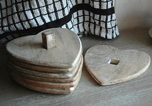 Set Of Six Wooden Heart Coasters - placemats & coasters