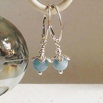 Aquamarine And Silver Hoop Earrings