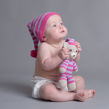 Hand Crochet Pyjama Bear With Matching Hat