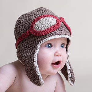 Hand Crochet Baby Aviator Hat - gifts: under £25