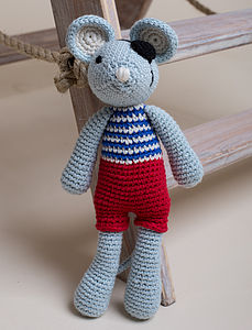 Hand Crochet Pirate Mouse - soft toys & dolls