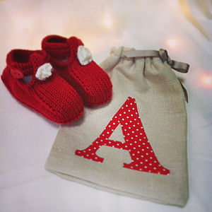 Baby's First Christmas Booties In A Bag
