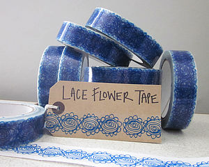 Blue Lace Flower Gift Wrap Tape - ribbon & wrap