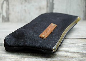 Charcoal Waxed Canvas Pouch - wash & toiletry bags