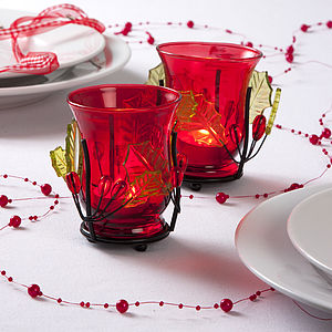 Red Glass & Holly Tea Light Holder