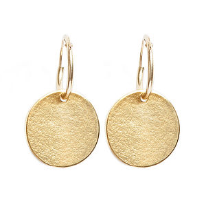 9ct Gold Irregular Disc Earrings - earrings