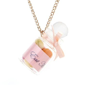 Gold plate necklace with Mini Macaroon Eat Me Jar Charm on a silver plate chain