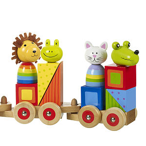 Wooden Pull Along Animal Train - traditional toys & games