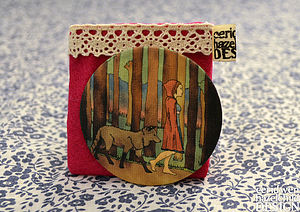 Fabric Red Riding Hood Pocket Mirror - beauty accessories