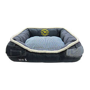 Denim Striped Pet Bed